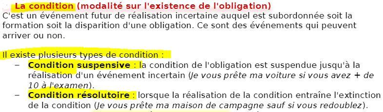 la condition de l'obligation, une modalité de l'obligation
