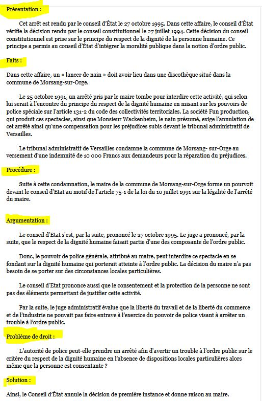 Résumé et fiche Arrêt Commune de Morsang-sur-Orge, CE 27 octobre 1995