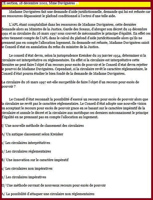 Résumé Arrêt Madame Duvignères, CE 18 décembre 2002 (