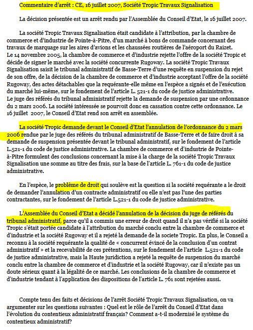 Arrêt Société tropic CE 16 juillet 2007