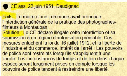 Arret daudignac CE 22 juin 1951