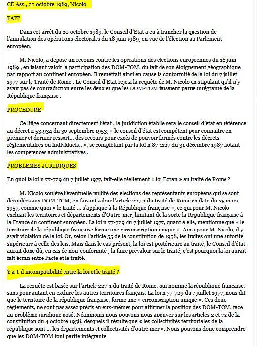 Résumé de l'arrêt Nicolo CE ass 20 octobre 1989